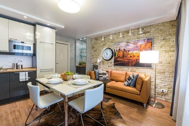 6-amenajare living open space mic cu piatra naturala decor modern