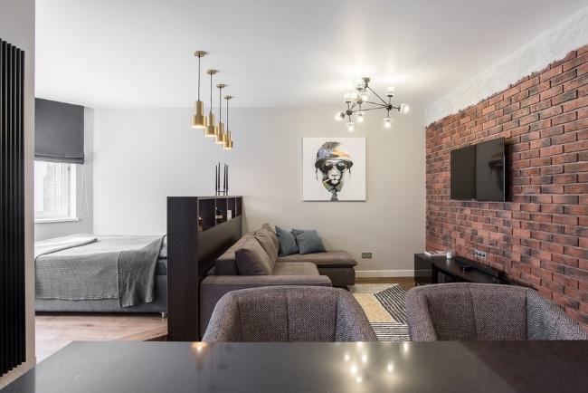 6-apartament 47 mp amenajat open space cu living dormitor si bucatarie