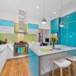 6-asortare bucatarie vernil cu bleu mobilier si finisaje colorate