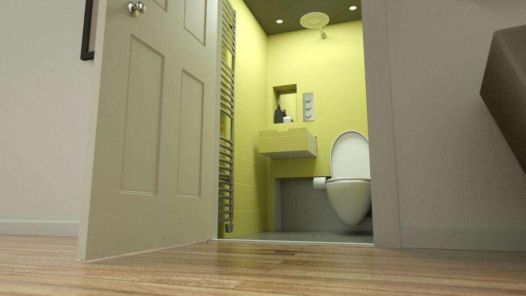 baie mica cu Hidealoo Shower wc rabatabil dus lavoar in perete