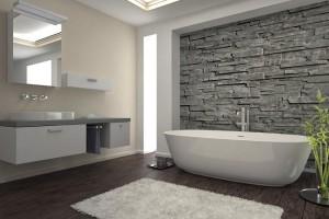 6-baie moderna cu piatra naturala aplicata pe peretele din dreptul cazii