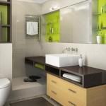6-baie moderna finisata cu mozaic bej si mobila wenge