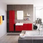 6-baie moderna in alb si gri mobila culoare rosie