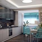6-bucatarie design modern mobila alba accente cromatice maro gri si bleu
