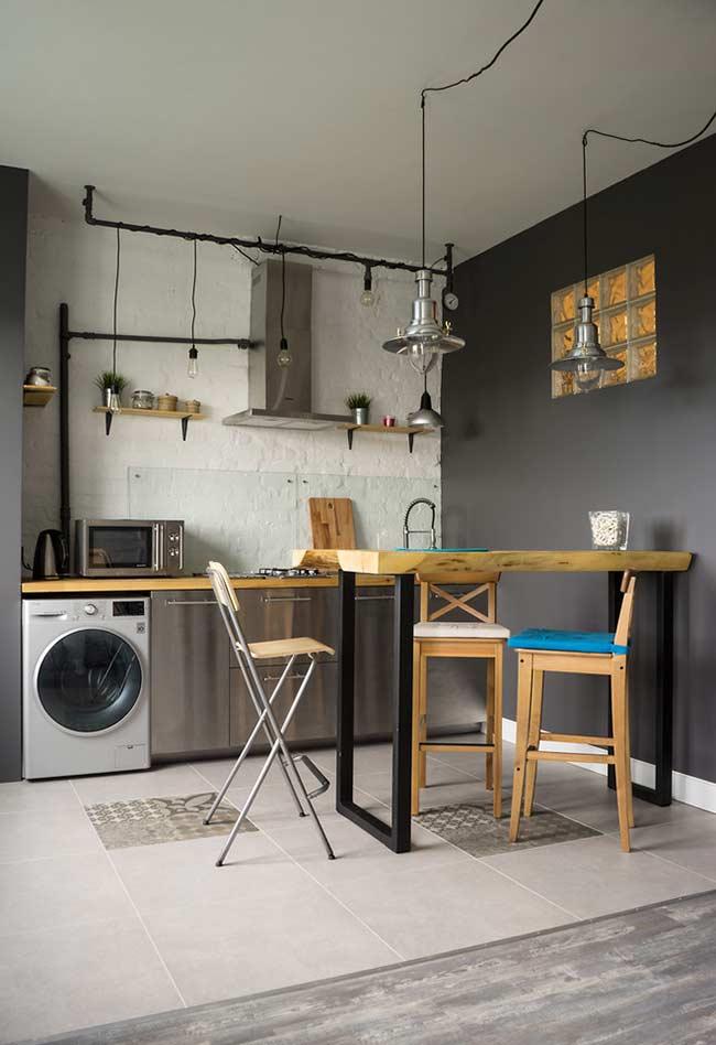 bucatarie minimalista stil industrial open space