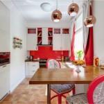 6-bucatarie moderna amenajata in rosi si alb cu insertii de lemn