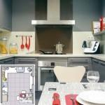 6-bucatarie moderna de 11 mp cu mobila gri in forma literei U proiectata pe 3 laturi