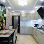 6-bucatarie moderna decorata cu fototapet cu imagine viticola