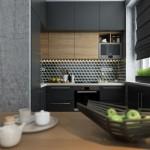 6-bucatarie moderna in negru stejar si faianta alb si negru