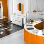 6-bucatarie moderna minimalista amenajata in portocaliu si alb