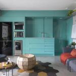 6-bucatarie moderna turcoaz open space living apartament Sao Paolo Brazilia
