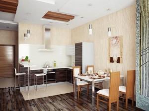 6-bucatarie si loc de luat masa moderne amenajate in plan deschis cu livingul