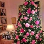 6-bujori roz decoratiuni pentru pomul de Craciun