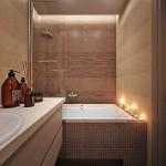 6-cada placata cu mozaic maro decor baie moderna finisata in bej si maro cappuccino