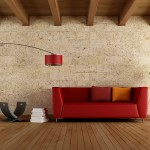 6-canapea rosie living modern minimalist finisat cu piatra naturala si lemn