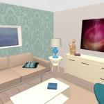 6-colorarea decorului prin aplicarea unui tapet decorativ cu imprimeu pe peretele din spatele canapelei