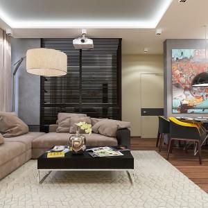 6-coltar canapea bej cu maro living modern apartament semidecomandat 2 camere