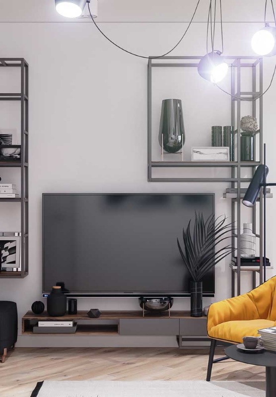 comoda tv moderna 2 sertare lemn cu gri suspendata perete