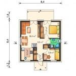 6-compartimentare casa de vacanta mica de 53 mp cu 2 dormitoare
