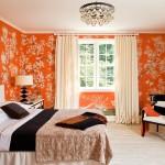 6- dormitor amenajat in portocaliu cu crem si accente negru abanos