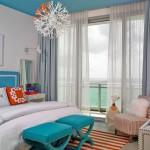 6-dormitor decorat cu alb turcoaz gri si Coral viu culoarea anului 2019