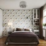 6-dormitor decorat cu tapet si multe dulapuri