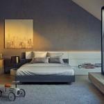 6-dormitor mare modern amenajat in mansarda casei finisat in nuante de gri