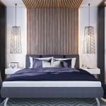 6-dormitor matrimonial modern decorat cu stinghii de lemn pe peretele de la capul patului