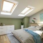 6-dormitor modern amenajat in mansarda perete accent verde olive