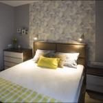 6-dormitor modern decorat in gri albastrui cu maso si accente galbene