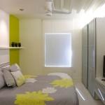 6-dormitor modern mic alb si gri cu accente colorate galben verzui