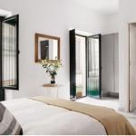 6-dormitor spatios cu tamplarie din lemn de culoare neagra