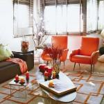 6-fotolii portocalii retro decor living modern apartament Spania