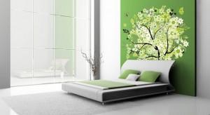 6-fototapet imprimeu floral verde si alb decor dormitor modern alb