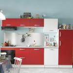6-garnitura mobila compacta in rosu si alb pentru bucatarie mica
