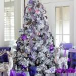 6-globuri de pom violet si lila pentru un decor elegant si rafinat de Craciun