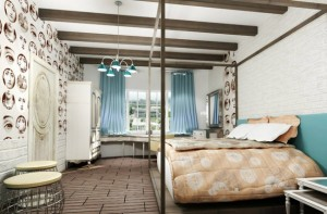 6-grinzi din lemn pe tavan pentru largirea vizuala a unui dormitor ingust