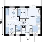 6-interior schita casa mica fara etaj 50 mp cu 2 dormitoare