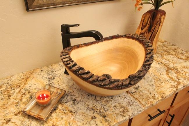 6-lavoar de baie facut dintr-un bustean de lemn Tilden Wood Sinks