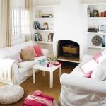 6-living mic cu semineu rustic si doua canapele albe