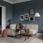 6-living scandinav cu peretii zugraviti in gri inchis cu tenta albastruie