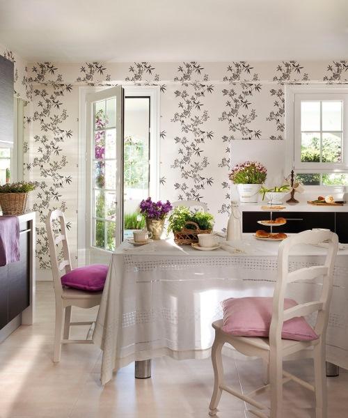6-loc de luat masa bucatarie tapet alb imprimeu floral negru