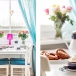 6-loc de luat masa langa fereastra cu perdele turcoaz din bucatarie