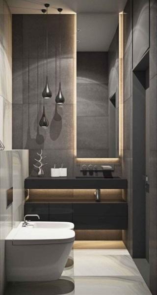 lustra pendul decor baie moderna in alb negru