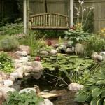 6-mic lac ornamental de gradina strajuit de multe plante acvatice