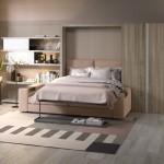 6-mobila living cu spatii depozitare canapea si pat rabatabil perete