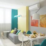 6-model bucatarie moderna alba open space living draperii si scaune turcoaz