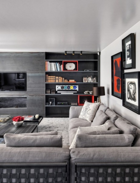 6-model mobila living culoare gri pe un intreg perete
