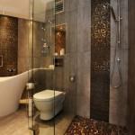 6-mozaic auriu bronz pardoseala cabina de dus baie moderna