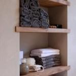 6-nisa cu polite din lemn depozitare prosoape baie